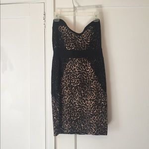 Charlotte Russe black lace cheetah bodycon dress